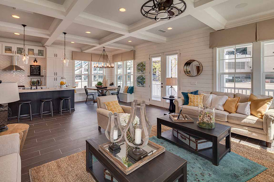 Open floor plan design with home decor in soothing tropical colors